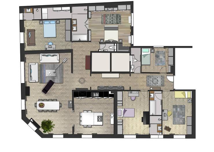 Renovation appartement 250 m2 Paris:  de style  par Miaow Design