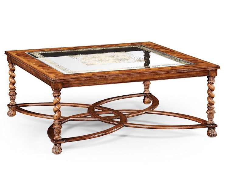 Jonathan Charles Square Oyster & Eglomise Coffee Table:  Living room by Pavilion Broadway