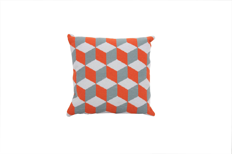 Pentreath & Hall Falling Cubes - Orange and Grey:  Living room by Fine Cell Work