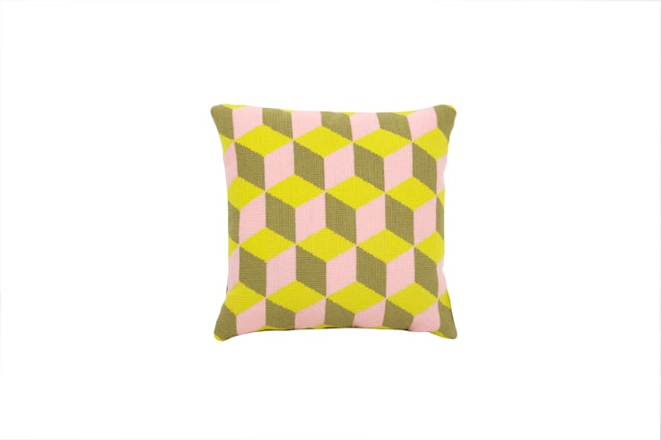 Pentreath & Hall Falling Cubes - Pink and Yellow:  Living room by Fine Cell Work