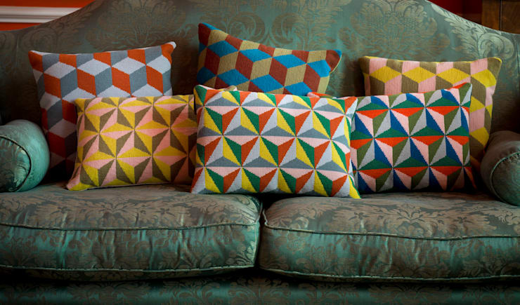 Pentreath & Hall Geometric cushions:  Living room by Fine Cell Work