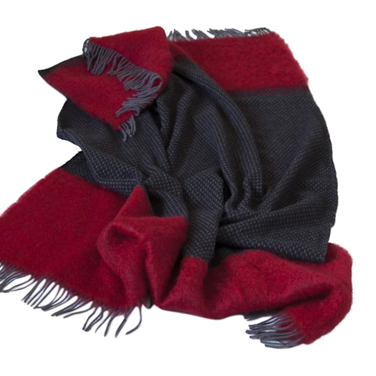 Manhattan- grey with crimson:  Household by The Biggest Blanket Company