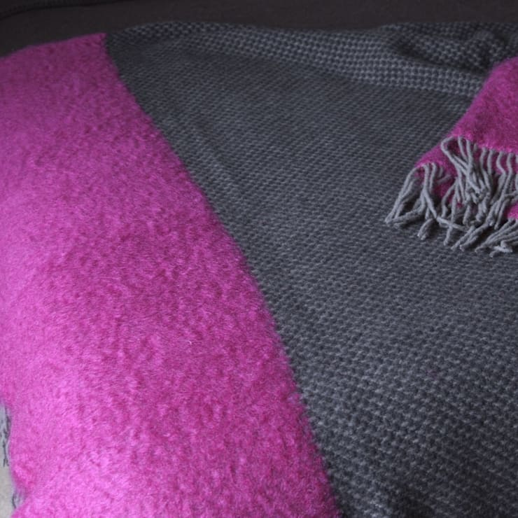 Manhattan- grey with magenta:  Household by The Biggest Blanket Company