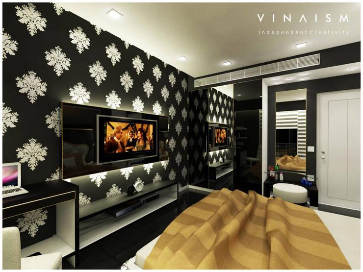 black guest room:  Bedroom by V I N A I S M
