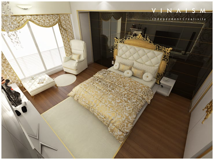 white n golden:  Bedroom by V I N A I S M