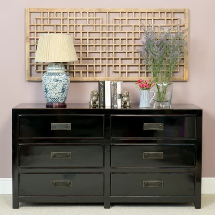Black Lacquer Chest of Six Drawers :  Bedroom by Orchid