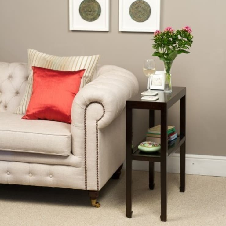 Black Lacquer Side Table with Shelf:  Bedroom by Orchid