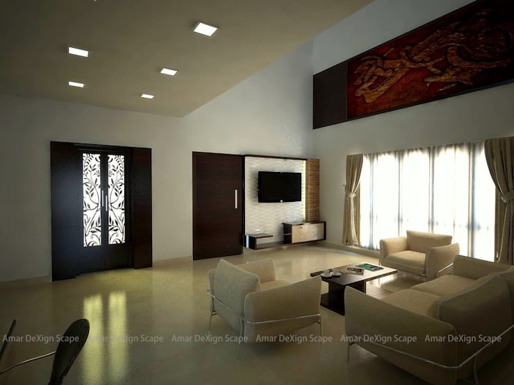 Wall Panel for TV:  Living room by Amar DeXign Scape