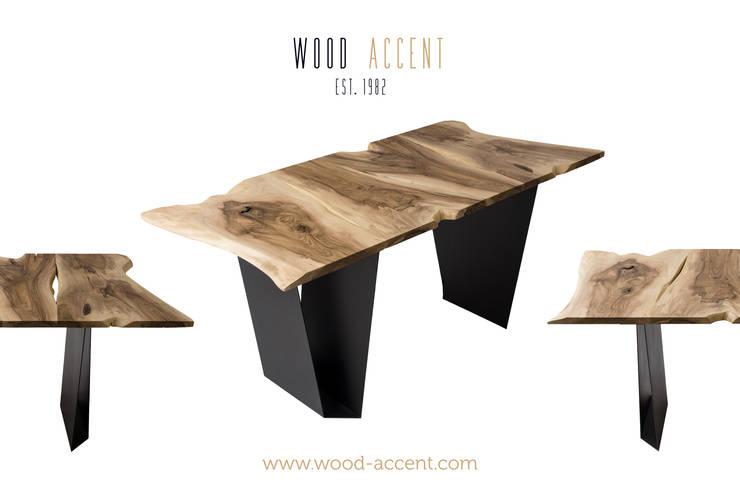 UNIQUE  WOODEN  TABLES  WOOD ACCENT: styl , w kategorii Jadalnia zaprojektowany przez WOOD ACCENT,