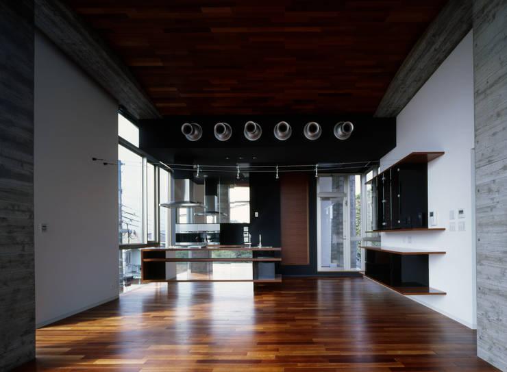 西岡本のコートハウス: 田中一郎建築事務所が手掛けたリビングです。