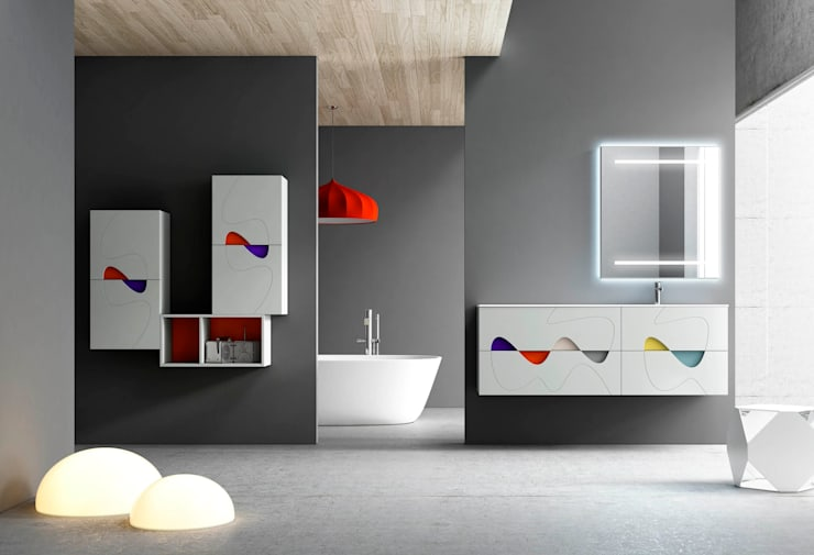 MUEBLE LAVABO TIK TAK, DECORAR A GUSTO DEL CLIENTE: Baños de estilo moderno de MAMPARAS SANTANDER