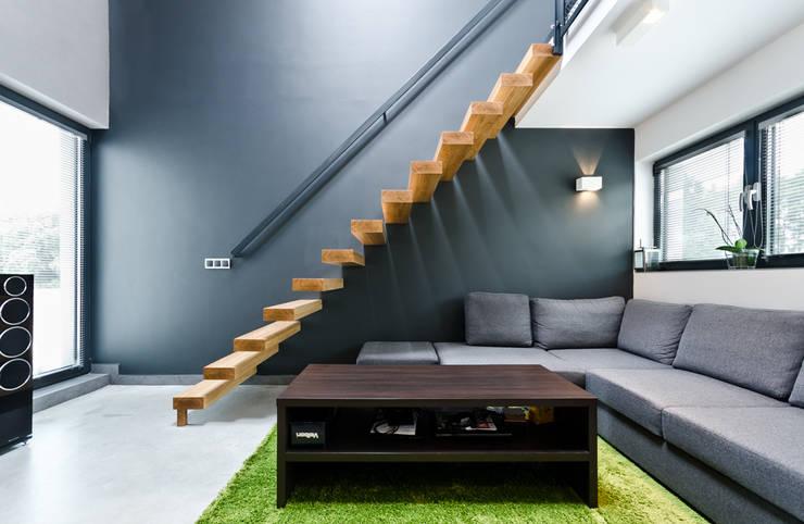 apartament dwupoziomowy: styl , w kategorii Salon zaprojektowany przez ENDE marcin lewandowicz,Skandynawski