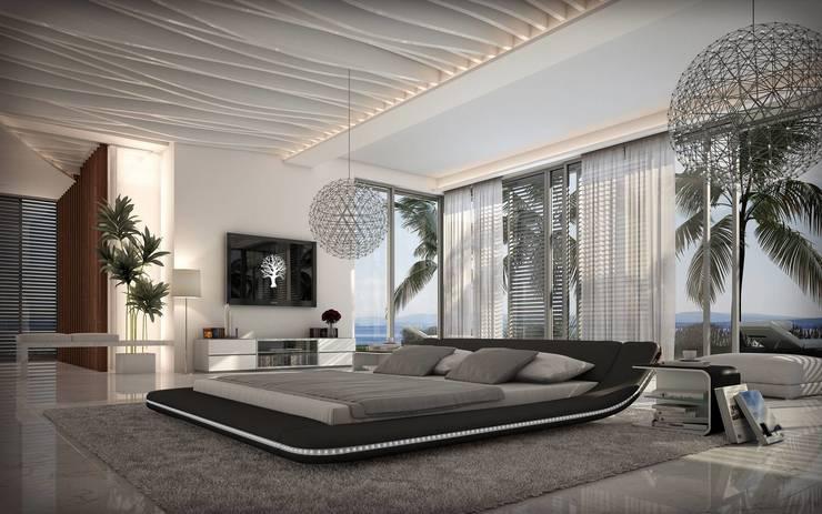 Lit design lumineux noir Victoria: Chambre de style  par Mobilier Nitro