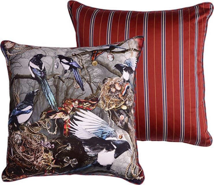 Magpie's Paradise cushion:  Living room by Emily Humphrey Design