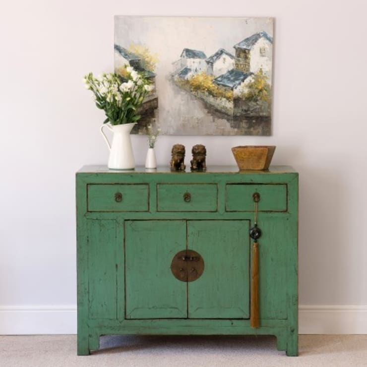 Turquoise Green Lacquered Cabinet c.1910 Shandong Province:   by Orchid