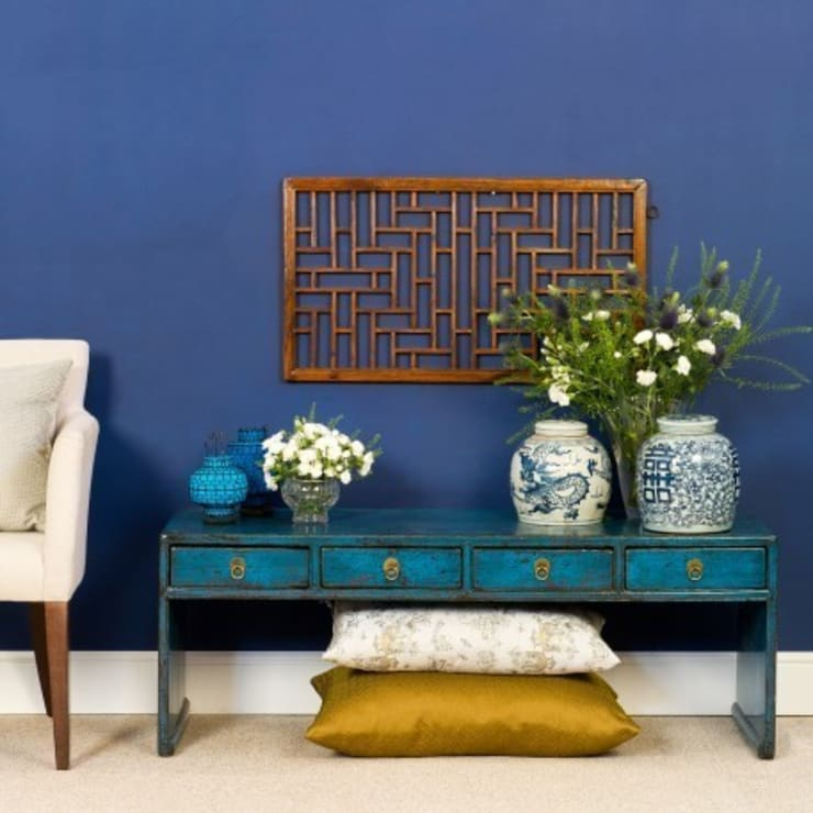 Blue Lacquer Low Console Table. Shandong Province c.1910:   by Orchid