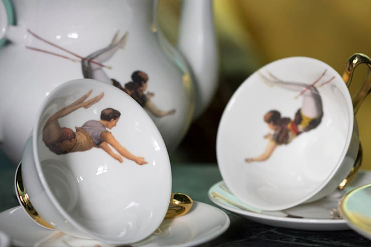 Trapeze Boy Teacup and Saucer:  Dining room by Melody Rose