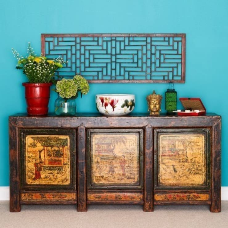 Decorated Three Panelled Mongolian Sideboard c.1860:   by Orchid