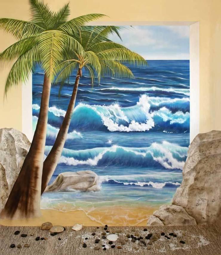 Wandmalerei Sauna Mediterraner Spa von Studio Witti - Atelier für Gestaltung Mediterran