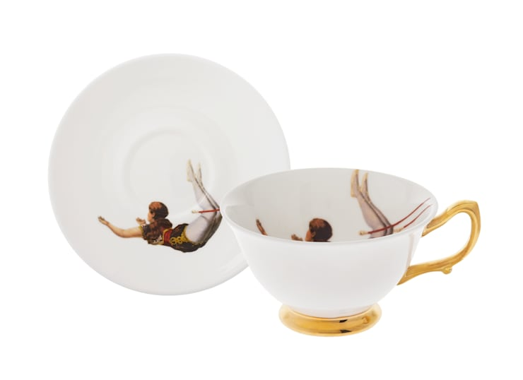 Trapeze Girl Teacup and Saucer:  Dining room by Melody Rose