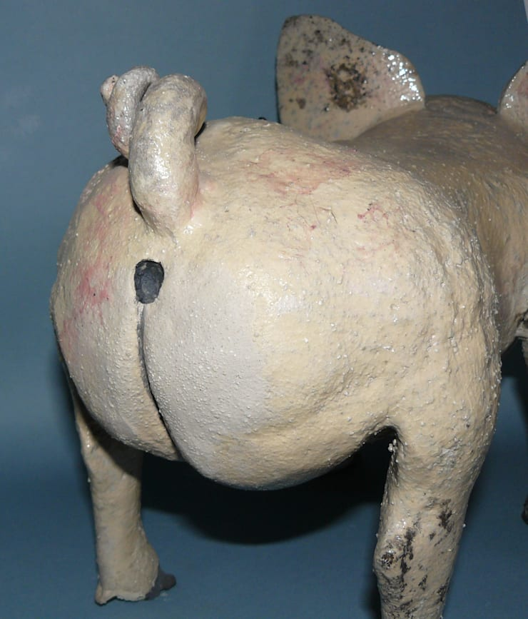 Ceramic Pig Raku fired:  Artwork by Boyne-Whitelegg Pottery