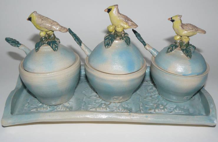 Condiment Set:  Artwork by Boyne-Whitelegg Pottery