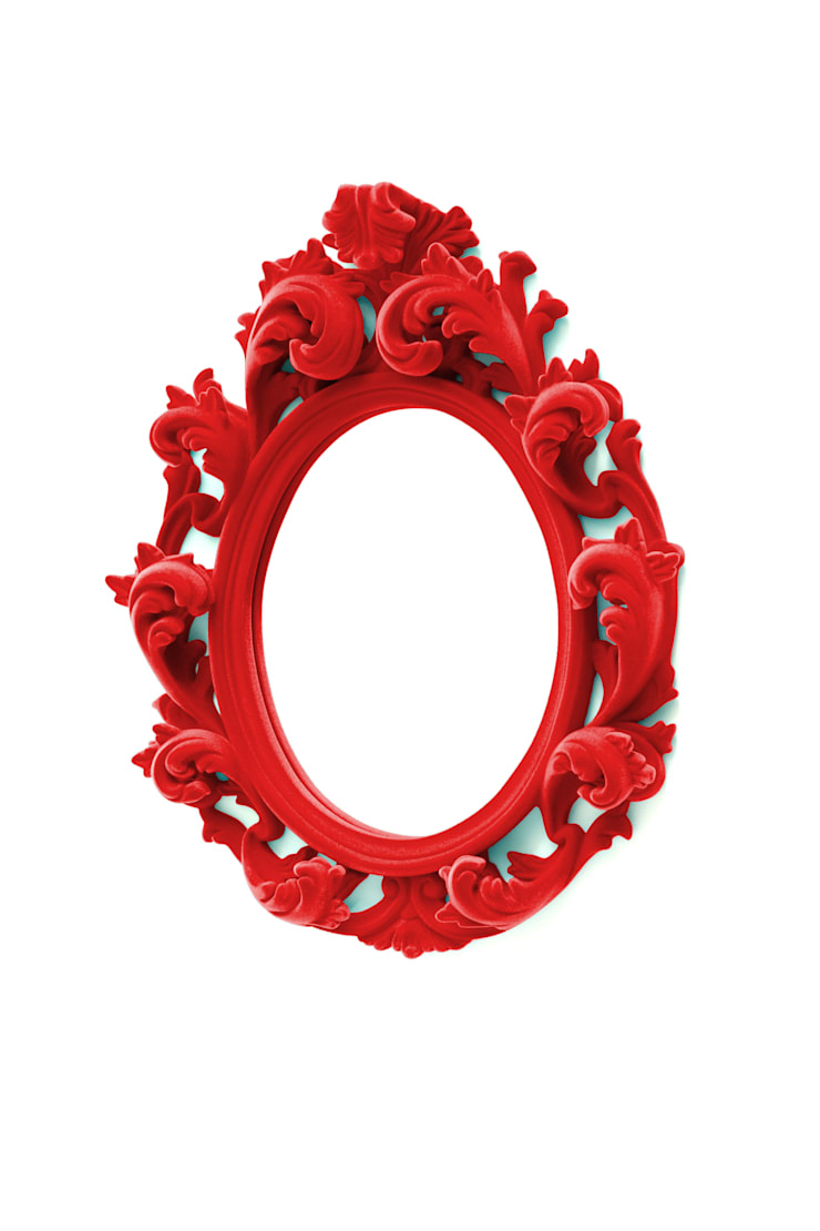 A Cardinal red flocked Versailles wall mirror:  Living room by Thomas & Vines Ltd