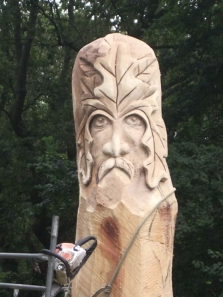 Queen Eleanors Green Man:  Garden  by The Carved Tree
