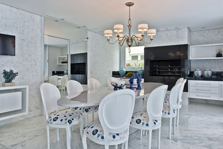 Casa em Jurerê Internacional - SC - Brasil: Salas de jantar  por Samara Barbosa Arquitetura
