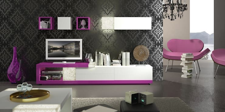 Salón Modular de Diseño Samara 4: Salones de estilo  de Ámbar Muebles