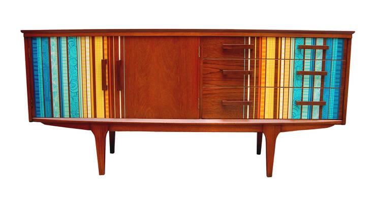 Zoe Murphy- Margate striped sideboard:  Living room by Zoe Murphy