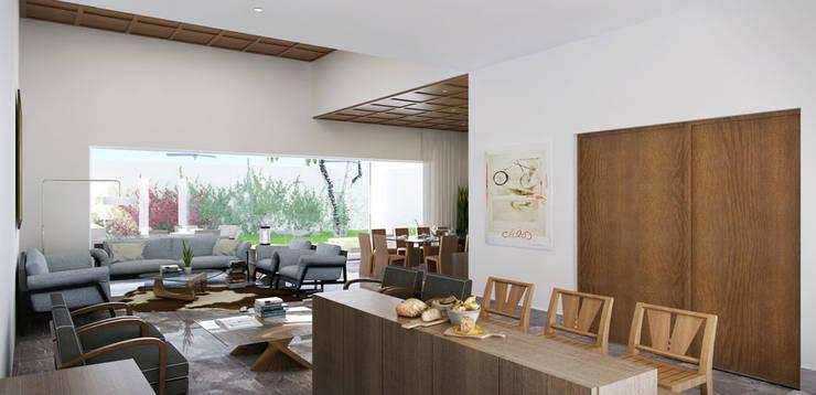 Area social :  de estilo  por Eugenio Adame Arquitectos