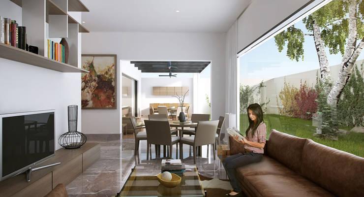 Area Familiar:  de estilo  por Eugenio Adame Arquitectos