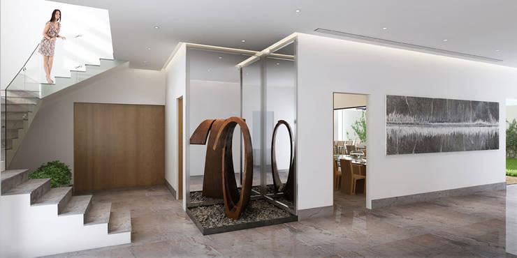 Detalle interior de Acceso Familiar:  de estilo  por Eugenio Adame Arquitectos
