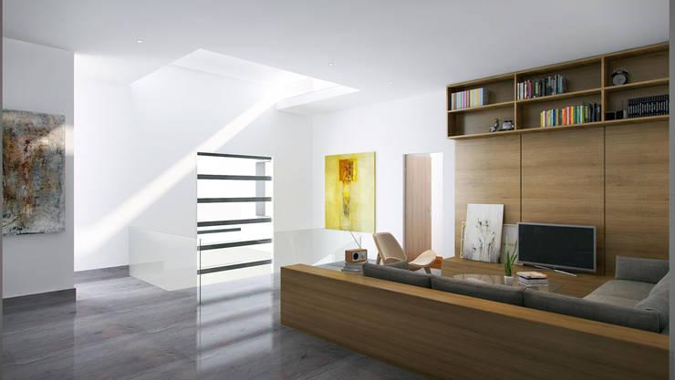 Estancia Famiilar Planta Alta:  de estilo  por Eugenio Adame Arquitectos