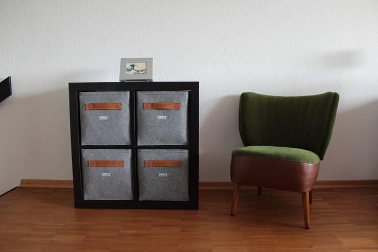 Regalkörbe aus Filz mit Ledgriff:  Wohnzimmer von Stich-haltig,