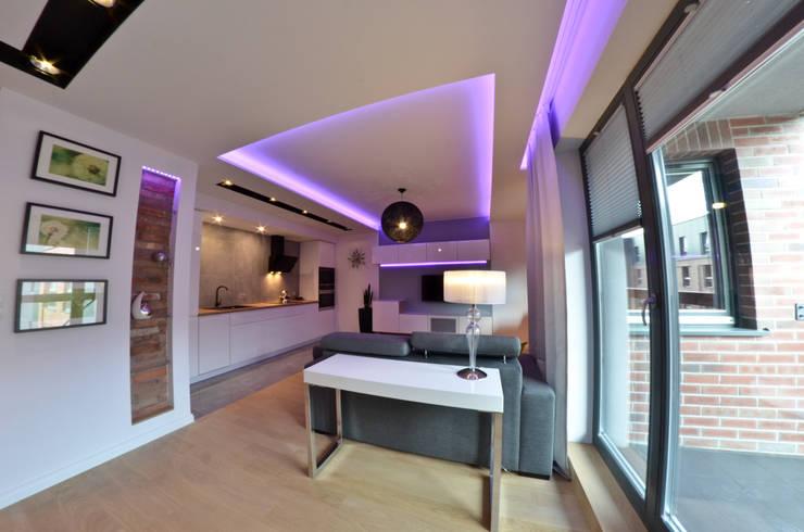 Mieszkanie Gdańsk – 50m2 – 2015: styl , w kategorii Salon zaprojektowany przez Pracownia Projektowa Studio86