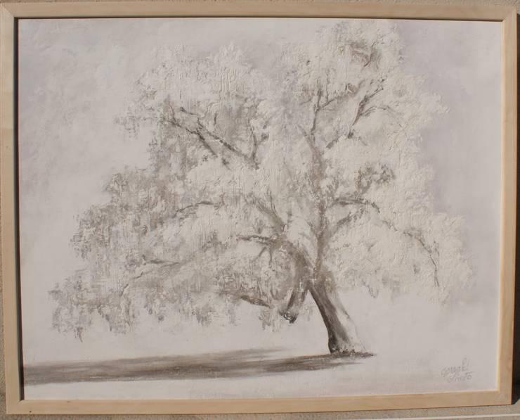 """Tableau en matière  """"L'arbre"""":  de style  par Oswald Olivato"""