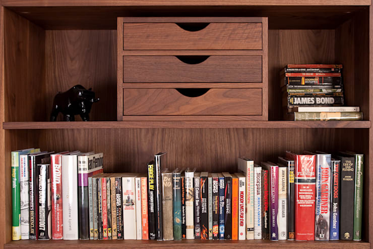 Solid Walnut Book Shelf With Drawers:  Kitchen by NAKED Kitchens