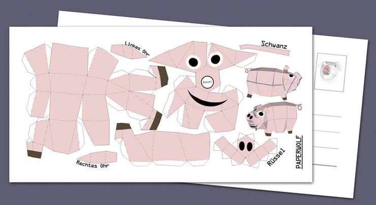 """Postkarte """"Mini-Schweinchen"""" zum Selberbauen. Bastelbogen DIY 210x105mm:  Wände & Boden von Paperwolf,"""