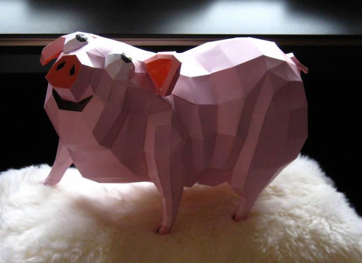 Bastelbogen - Ausschneidebogen Schweinchen:  Wände & Boden von Paperwolf,