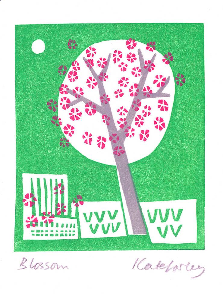 Blossom - lino print by Kate Farley:  Artwork by Kate Farley