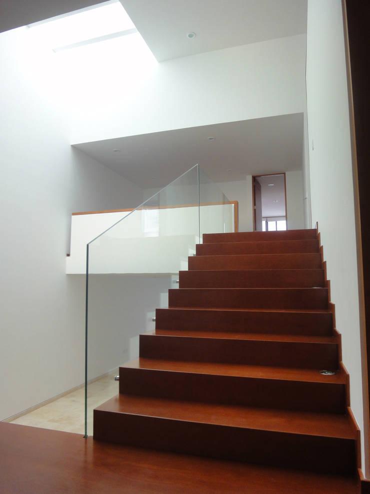 Casa AA: Pasillos y recibidores de estilo  por ze arquitectura