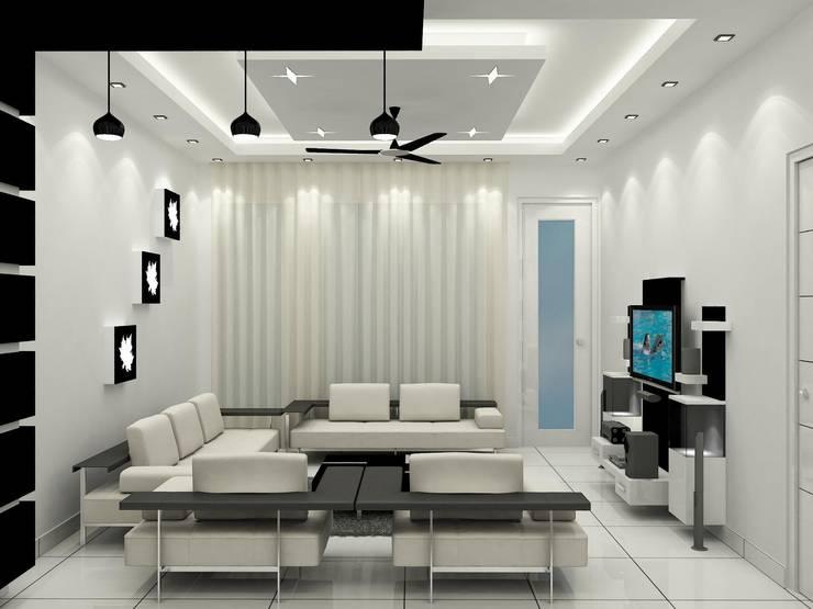 Living Area:   by Universal Pride Interiors Pvt. Ltd.