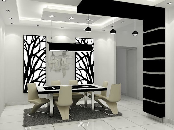 Dining Area:   by Universal Pride Interiors Pvt. Ltd.