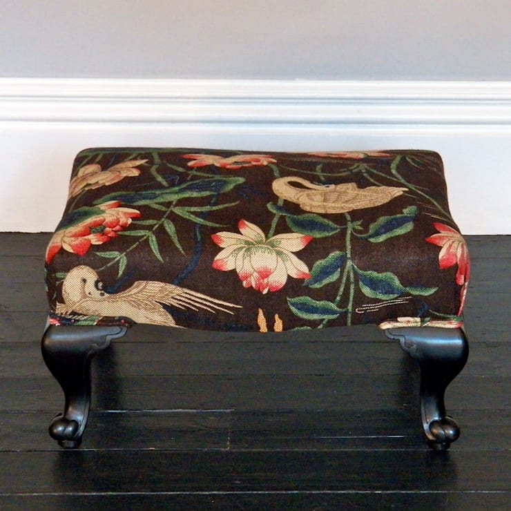 Antique footstool:  Living room by Linney Hughes