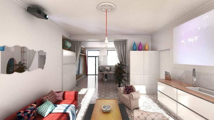Loft contemporain: Salon de style  par AAA