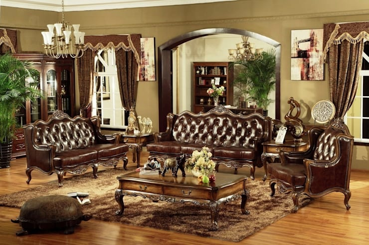 Vintage Chesterfield Sofa:  Living room by Locus Habitat