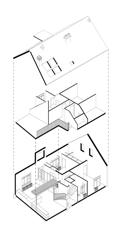 VIEUX CAPUCINS - CHARTRES - AXONOMETRIE ECLATÉE: Maisons de style  par BAPTISTE LEGUÉ