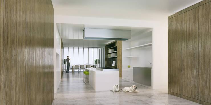 Lofts à Lima - Entrée, cuisine et salle à manger:  de style  par Aude Morgenthaler
